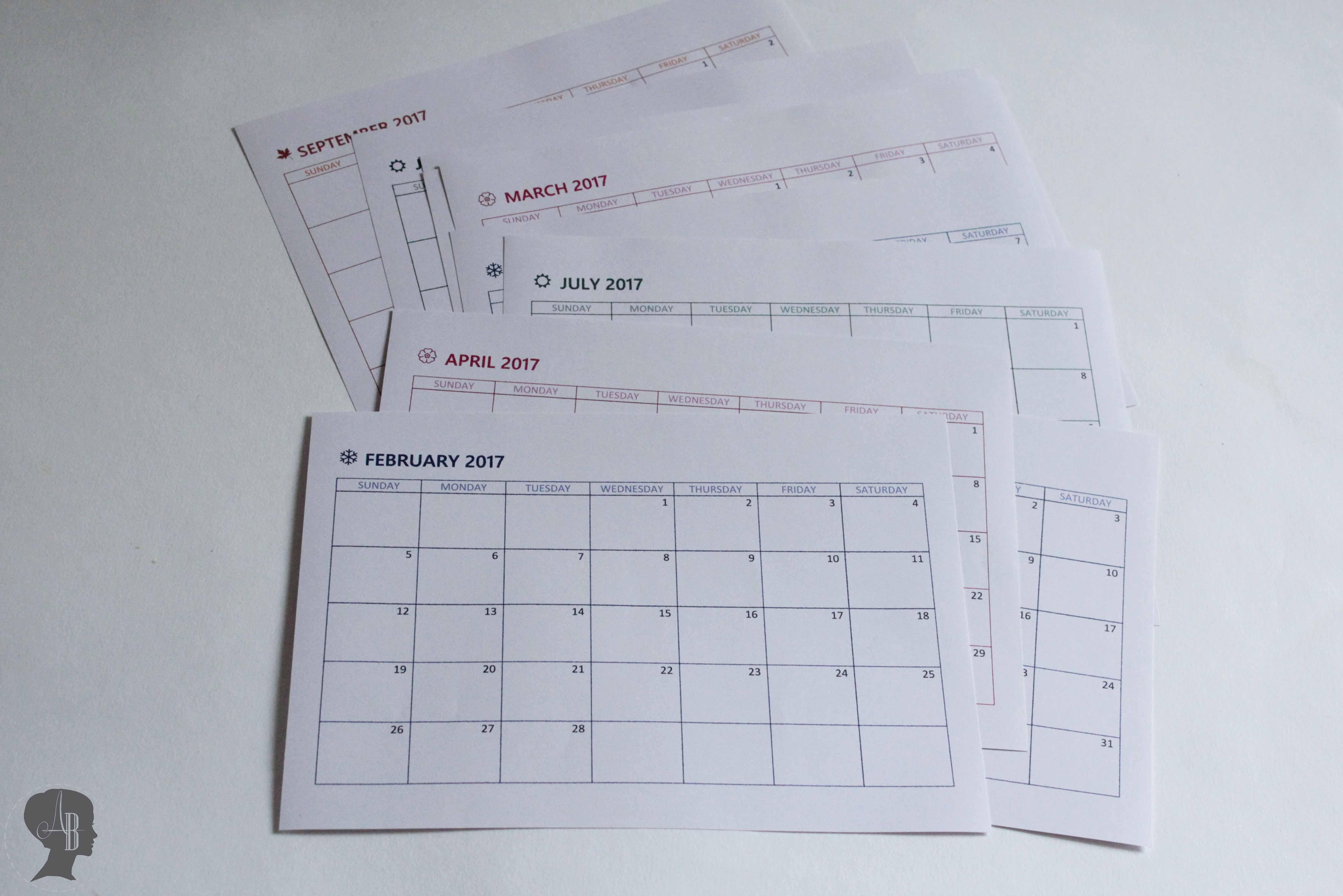 Diy Kalender 2017 Zum Drucken Arianebrand